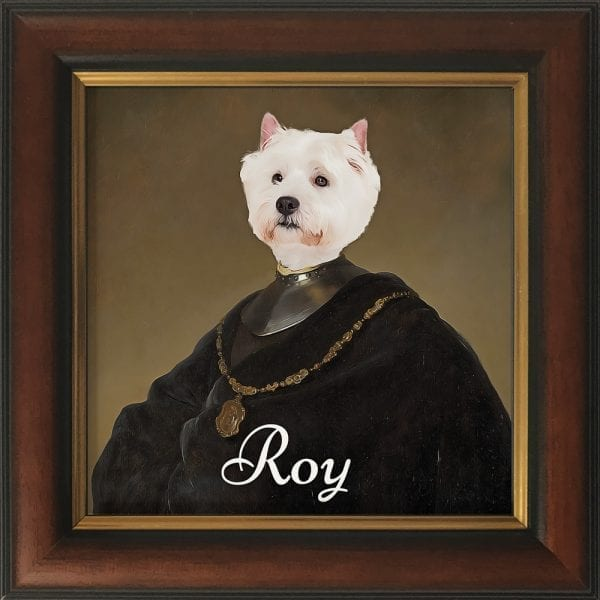 Can you imagine your pet's proud face printed on to our authentic art portrait? This is a pet portrait in a Gold and Brown Frame.