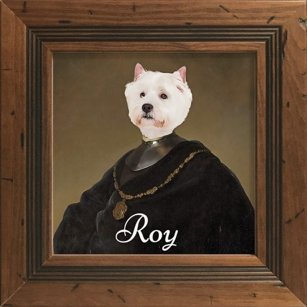 Can you imagine your pet's proud face printed on to our authentic art portrait? This is a pet portrait in a Rustic Antique Frame.