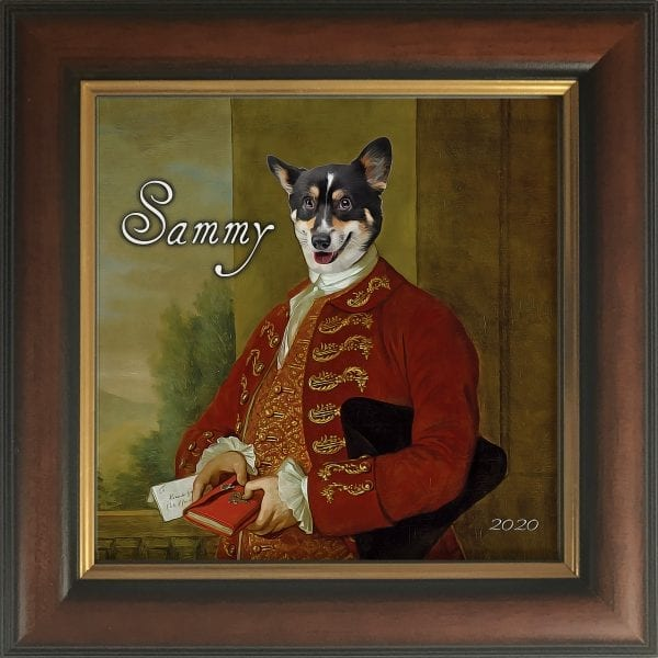 Our Picture Parcel personalized pet products make the most thoughtful gifts to pet owners everywhere. You can design online and add your own text. This is your pet portrait in a Gold and Brown real-wood frame.