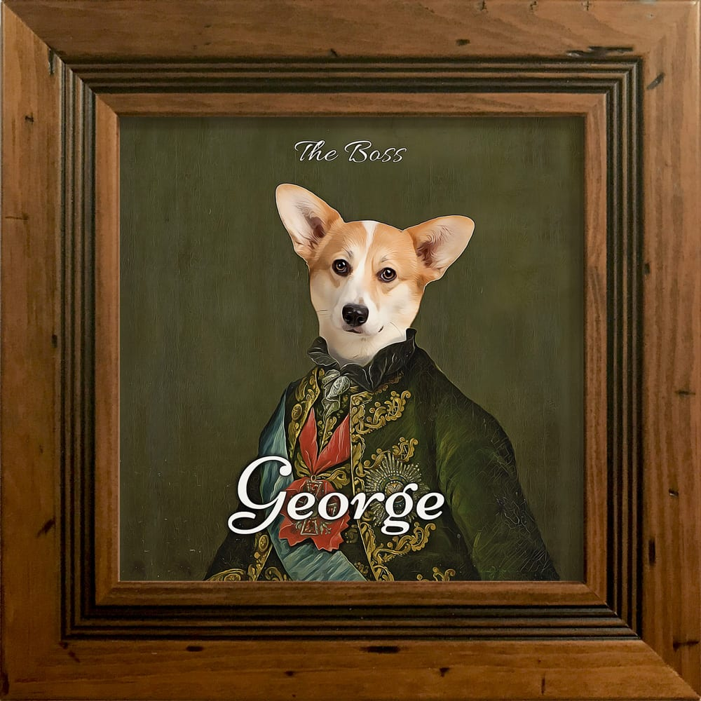 Picture Parcel is a fun-loving personalised pet goods brand. We are dedicated to helping pet owners express their love, adoration, and quirkiness when it comes to their pets. These pet portraits make wonderful gifts that enhance any home. This portrait is a ceramic pet artwork in areal wood frame - Rustic antic style frame.