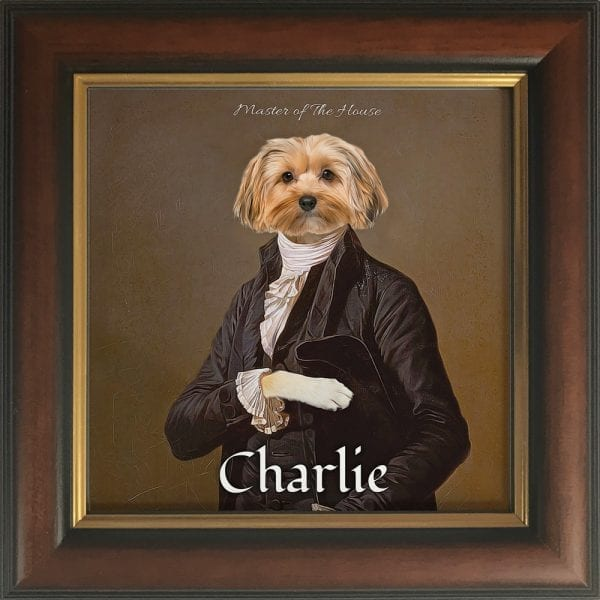 A ONE OF A KIND MASTERPIECE FEATURING YOUR PET Just imagine your pet striking a regal pose. Yes, this stunning fun pet portrait will have everyone admiring your pet for ages to come. This pet artwork is a printed ceramic piece of your pet with personalised text - framed in a Brown and Gold real-wood frame.