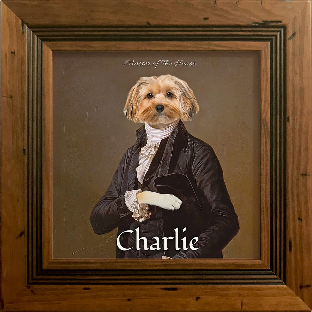 A ONE OF A KIND MASTERPIECE FEATURING YOUR PET Just imagine your pet striking a regal pose. Yes, this stunning fun pet portrait will have everyone admiring your pet for ages to come. This pet artwork is a printed ceramic piece of your pet with personalised text - framed in a Rustic Antique real-wood frame.