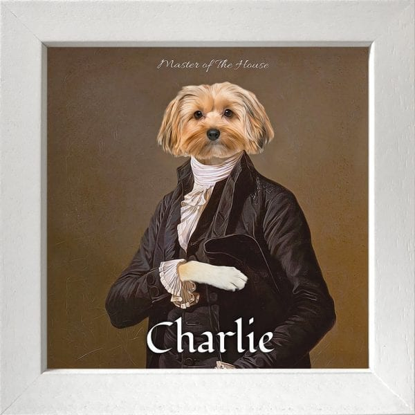 A ONE OF A KIND MASTERPIECE FEATURING YOUR PET Just imagine your pet striking a regal pose. Yes, this stunning fun pet portrait will have everyone admiring your pet for ages to come. This pet artwork is a printed ceramic piece of your pet with personalised text - framed in a white real-wood frame.