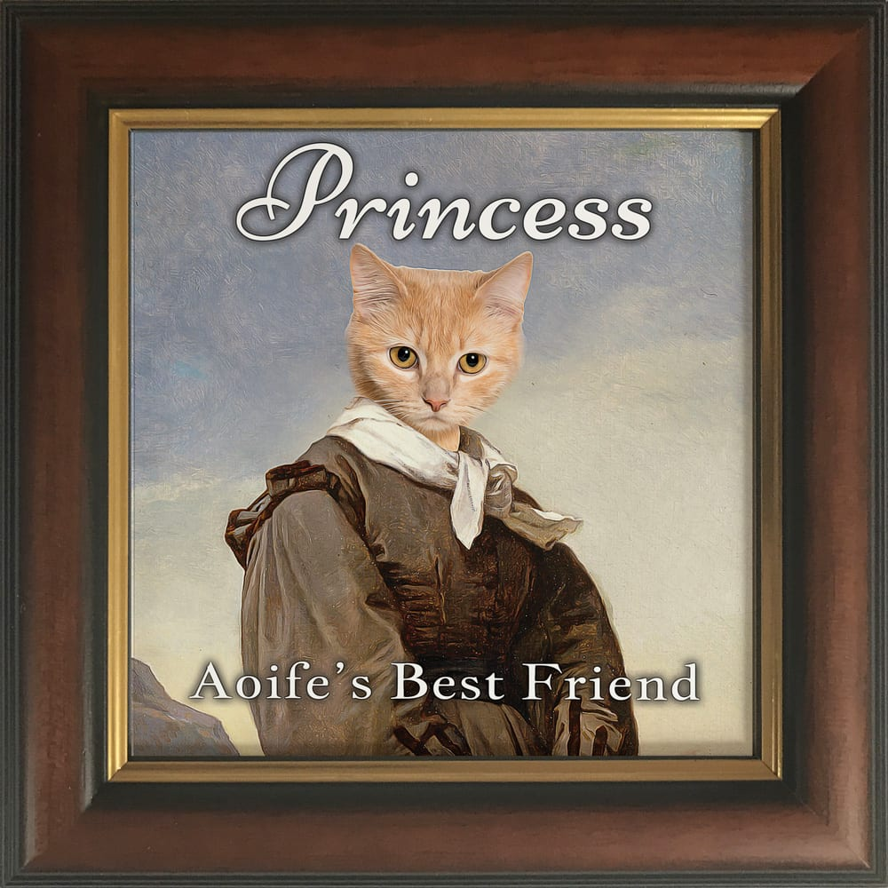 Have your beloved pet dog, cat, horse, sheep, bird, ferret or any other pet immortalised in a portrait! These gloss ceramic art tiles come framed, ready to hang. No extra expense. Add your own text. These unique pet masterpieces come with frame - this one is a traditional brown and gold frame.