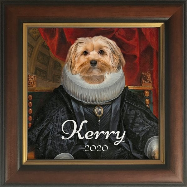 Picture Parcel is a company that thrives in creating custom pet portraits by combining authentic oil paintings with photos of animals. They love what they do and it shows in every pet portrait masterpiece. This ceramic art tile comes in its own real-wood frame. This is a Brown and Gold hand-made frame.