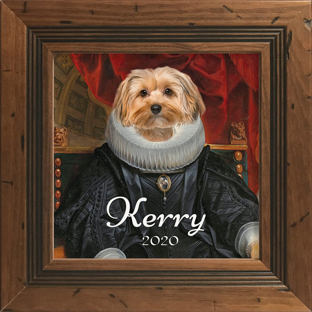 Picture Parcel is a company that thrives in creating custom pet portraits by combining authentic oil paintings with photos of animals. They love what they do and it shows in every pet portrait masterpiece. This ceramic art tile comes in its own real-wood frame. This is a Rustic Pine hand-made frame.
