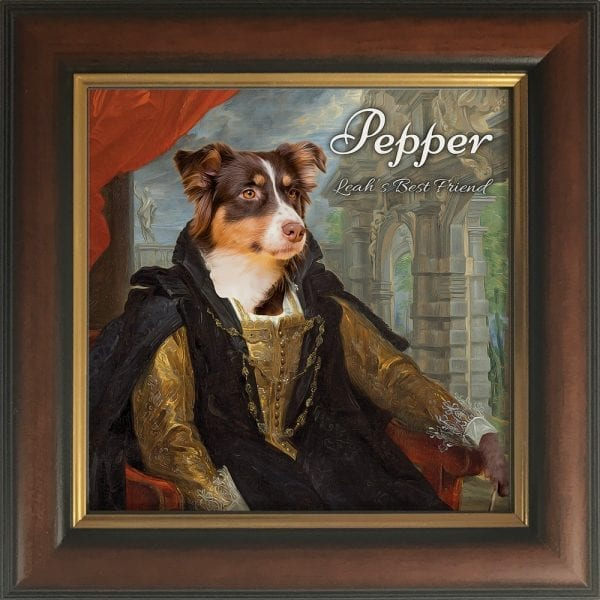 At Picture Parcel we transform your pet into elegant characters. You can decide to choose whatever role you want your pet to bear a resemblance to, maybe one that portrays their unique personality. This is a painting on a ceramic art piece that comes already framed - so no extra expense. Made with real love, care and affection, this piece is in a white hand-made frame. Its also customised with the pets name and additional text. This particular pet painting comes in a Brown and Gold frame.