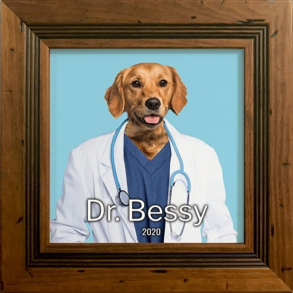 Imaging your pet as a doctor. Get this custom made personalised ceramic artwork of your pet simply by visiting our website and follow the instructions. This is a pet painting on ceramic, framed in a real wood frame. This is all handmade in Ireland and delivers anywhere around the world. This pet portrait painting is of a dog in a rustic pine frame.