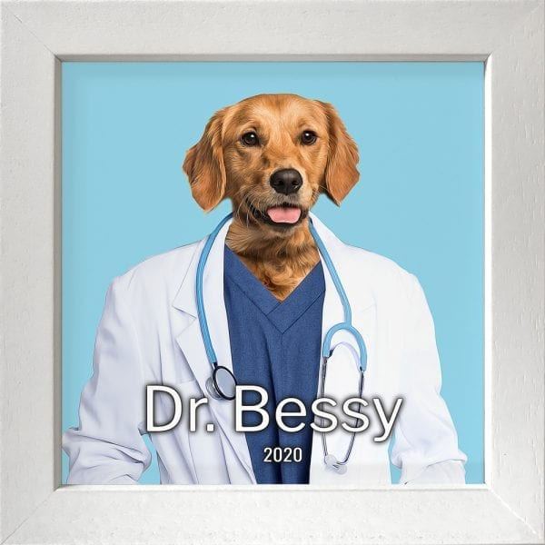 Imaging your pet as a doctor. Get this custom made personalised ceramic artwork of your pet simply by visiting our website and follow the instructions. This is a pet painting on ceramic, framed in a real wood frame. This is all handmade in Ireland and delivers anywhere around the world. This pet portrait painting is of a dog in a White frame.