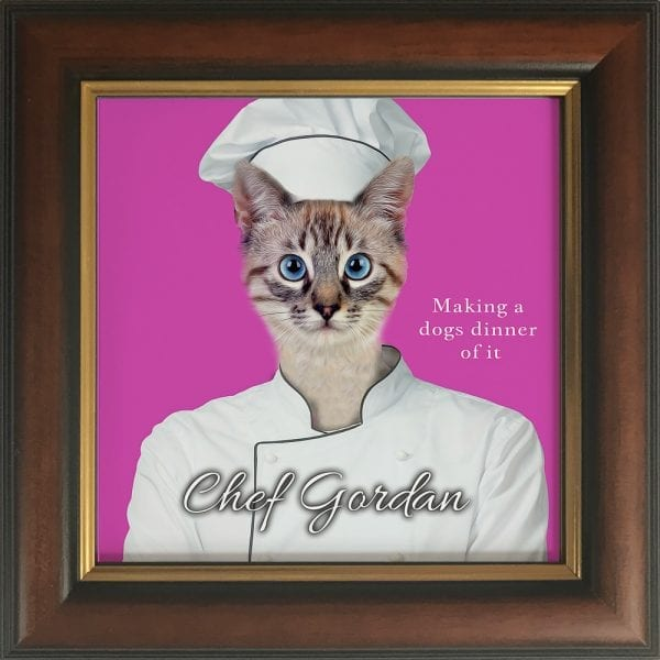 If your pet had an occupation - what would it be?Imaging your pet as a chef. Get this custom made personalised ceramic artwork of your pet simply by visiting our website and follow the instructions. This is a pet painting on ceramic, framed in a real wood frame. This is all handmade in Ireland and delivers anywhere around the world. This pet portrait painting is of a pet cat in a Brown and Gold frame.