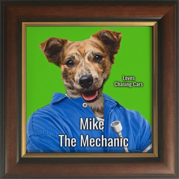 Imagine your pet as a mechanic. This is a custom artwork painting on ceramic of a pet. It comes already framed - in this instance this pet artwork is in a Brown and Gold frame.