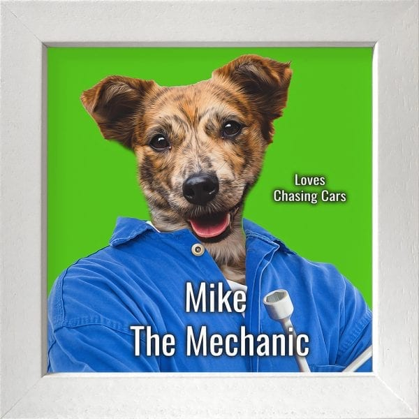 Imagine your pet as a mechanic. This is a custom artwork painting on ceramic of a pet. It comes already framed - in this instance this pet artwork is in a white frame.