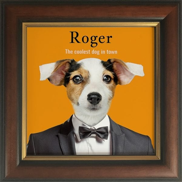 Humorous Custom Pet Portrait with your pet as the star . Picture Parcel pet portraits are fun, yet full of meaning and recognises the deep affection felt by the pet's owner. Personalized pet portraits make wonderful gifts for pet lovers as well as memorials to remember a beloved pet by. Our ceramic art pet portraits come already framed in real wood frames. This example is a stunning pet portrait in a Gold and brown frame.