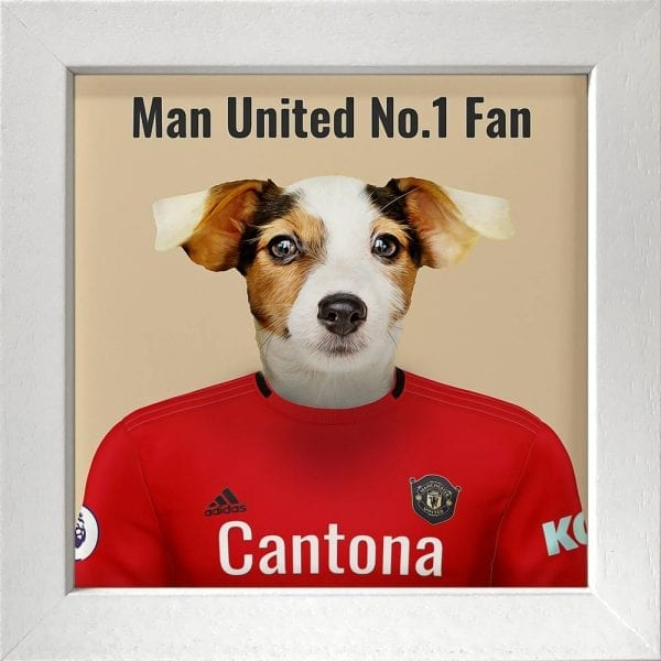 Picture Parcel Pet Portraits - Your pet in their sports team colours. This is Man United pet portrait on ceramic art tile presented in a white frame.