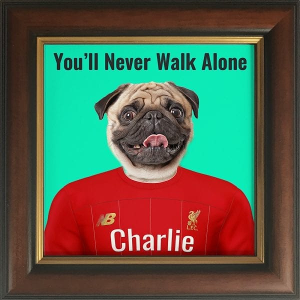 You'll never walk alone - pet portrait. Your pet painted into Liverpool Soccer club kit. Great gift for all Sport fans. This is a Picture Parcel pet portrait of a dog in a solid wood frame. Handmade in Ireland. This is a Brown and Gold frame.