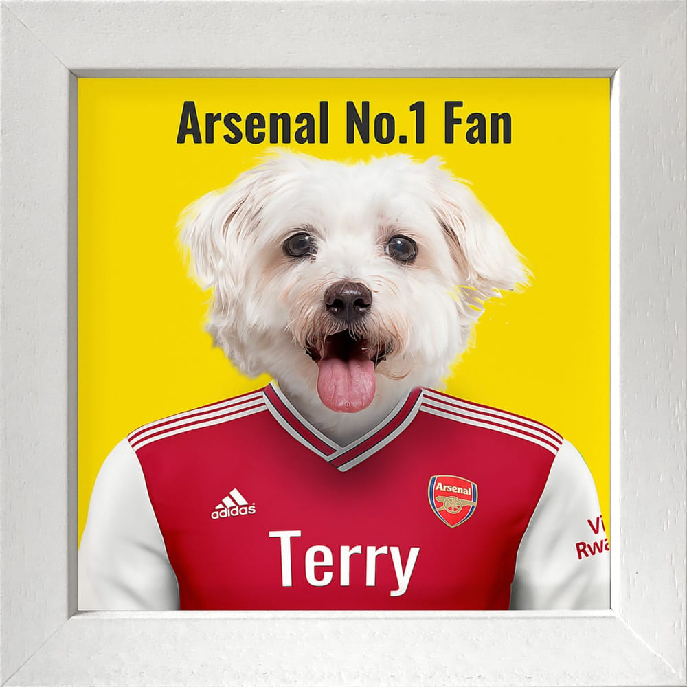 Fantastic gift for an Arsenal fan - their pet in Arsenal's soccer team kit. Look fantastic in any home. This image is an Arsenal fans pet in their team colors. Printed on gloss ceramic and comes framed in areal wood frame. This frame is a deep box white frame - handmade in Ireland.