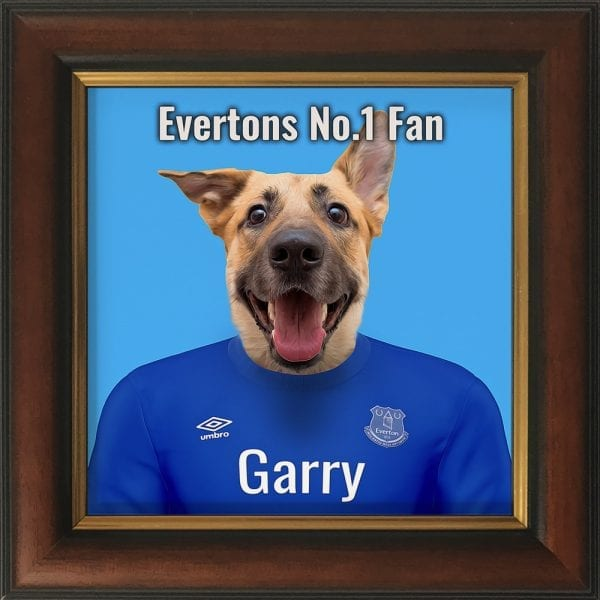 A wonderful gift for the Everton fan. Their pet in Everton team colours - Printed on ceramic art and comes already framed. This can be wall hung or Table top - with included picture stand. This frame is gold and brown handmade frame.