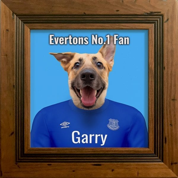A wonderful gift for the Everton fan. Their pet in Everton team colours - Printed on ceramic art and comes already framed. This can be wall hung or Table top - with included picture stand. This frame is rustic pine handmade frame.
