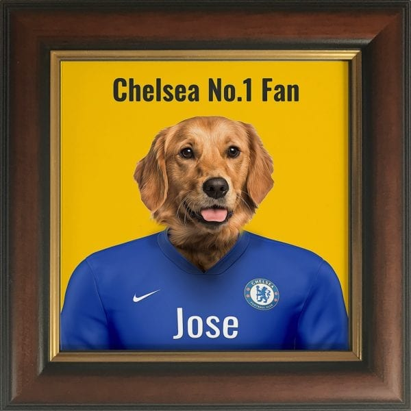 A wonderful gift for any Chelsea fan. Their pet in Chelseas kit colours. This personalised gift - where you can add pets name and additional text - makes it a very fun and thoughtful present. This example is a pet dog portrait in Chelseas team colors. This one is framed in a real-wood brown and gold frame.