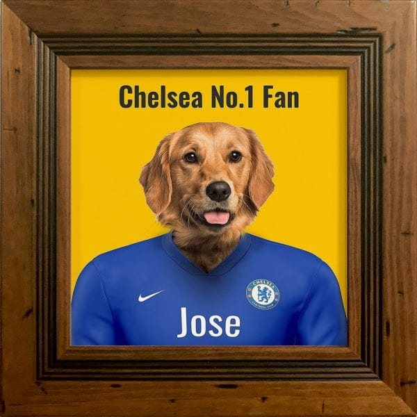 A wonderful gift for any Chelsea fan. Their pet in Chelseas kit colours. This personalised gift - where you can add pets name and additional text - makes it a very fun and thoughtful present. This example is a pet dog portrait in Chelseas team colors. This one is framed in a real-wood rustic antique pine frame.