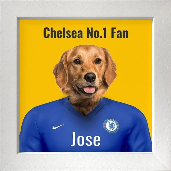 A wonderful gift for any Chelsea fan. Their pet in Chelseas kit colours. This personalised gift - where you can add pets name and additional text - makes it a very fun and thoughtful present. This example is a pet dog portrait in Chelseas team colors. This one is framed in a white real-wood frame.