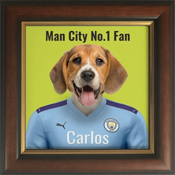 Your pet portrait - your pet in Manchester Citys team colours. This is a personalised, handmade item of a a pet in the team colours on a ceramic art tile in a brown and gold frame.