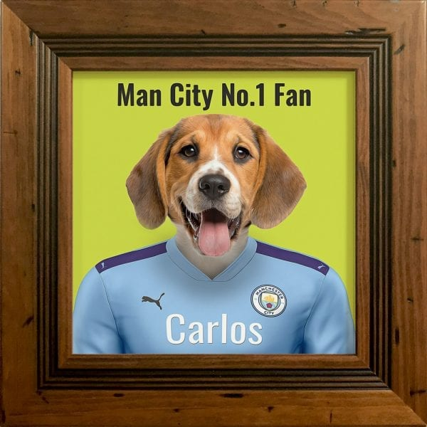 Your pet portrait - your pet in Manchester Citys team colours. This is a personalised, handmade item of a a pet in the team colours on a ceramic art tile in a rustic pine frame.