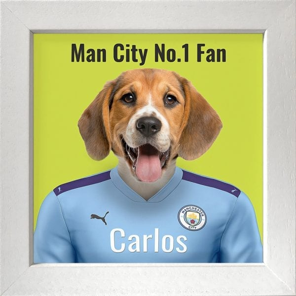 Your pet portrait - your pet in Manchester Citys team colours. This is a personalised, handmade item of a a pet in the team colours on a ceramic art tile in a white frame.