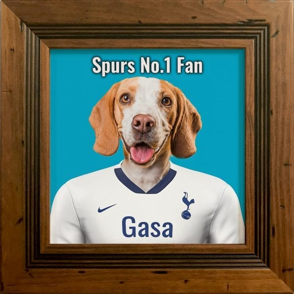 Your pet portrait - your pet in spurs team colours. This is a personalised, handmade item of a a pet in the team colours on a ceramic art tile in a rustic pine frame. Fantastic gift for any Tottenham Hotspur F.C. fan.