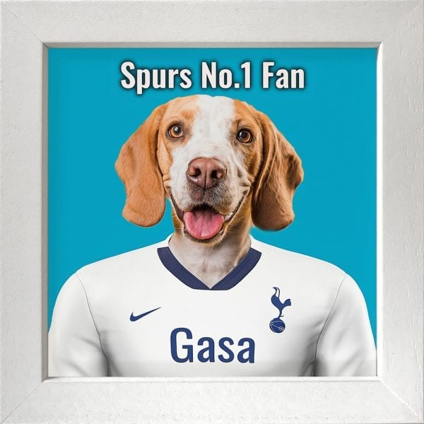 Your pet portrait - your pet in spurs team colours. This is a personalised, handmade item of a a pet in the team colours on a ceramic art tile in a white frame. Fantastic gift for any Tottenham Hotspur F.C. fan.
