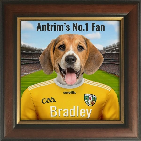 Antrim GAA fans gift. Personalised ceramic GAA gift in a brown and gold frame.