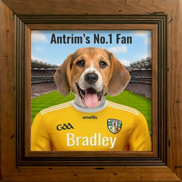 Antrim GAA fans gift. A personalised pet portrait ceramic GAA gift in a rustic antique pine real wood frame. Picture Parcel pet portraits are handmade in Ireland and ship worldwide. A great gift for any GAA supporter at home or abroad. Come ready to hang or display on a shelf - therefore no extra framing expense.
