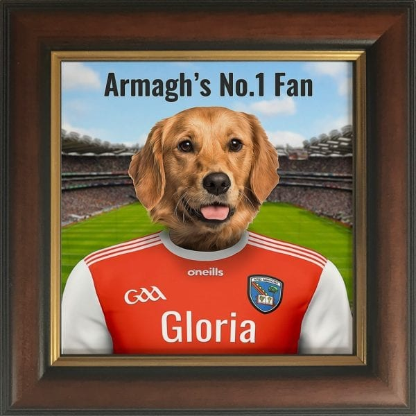 Armagh GAA fans gift. Personalised ceramic GAA gift in a brown and gold frame.