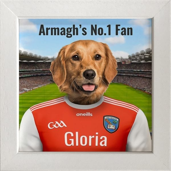 Armagh GAA fans gift. Personalised ceramic GAA gift in a white frame.