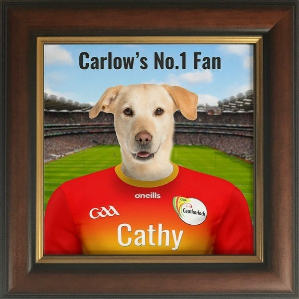 Carlow GAA fans gift. A personalised pet portrait ceramic GAA gift in a brown andgold frame. Picture Parcel pet portraits are handmade in Ireland and ship worldwide.