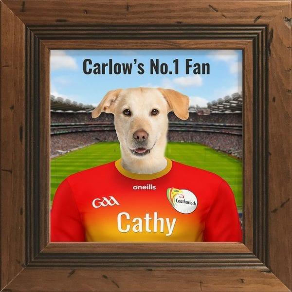Carlow GAA fans gift. Personalised ceramic GAA gift in a rustic pine frame.