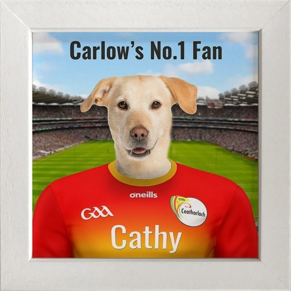 Carlow GAA fans gift. A personalised pet portrait ceramic GAA gift in a white frame. Picture Parcel pet portraits are handmade in Ireland and ship worldwide.