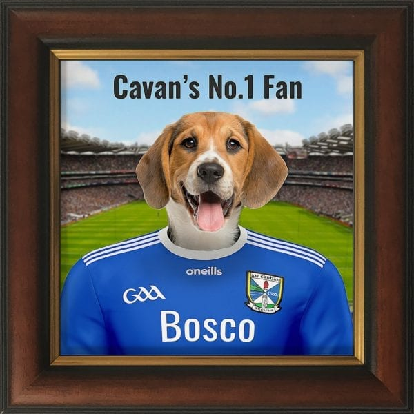 Cavan GAA fans gift. A personalised pet portrait ceramic GAA gift in a brown and gold frame. Picture Parcel pet portraits are handmade in Ireland and ship worldwide.