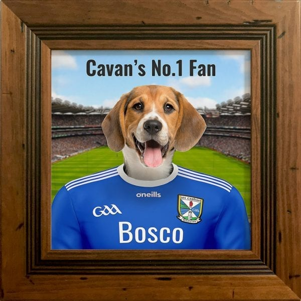 Cavan GAA fans gift. A personalised pet portrait ceramic GAA gift in a rustic pine frame. Picture Parcel pet portraits are handmade in Ireland and ship worldwide.