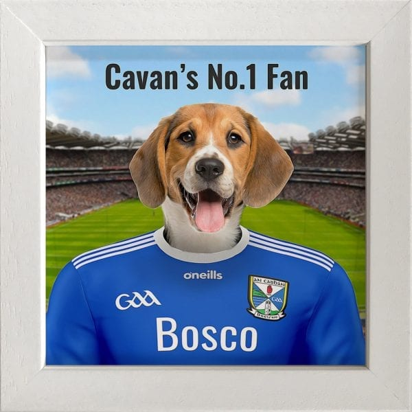 Cavan GAA fans gift. A personalised pet portrait ceramic GAA gift in a white frame. Picture Parcel pet portraits are handmade in Ireland and ship worldwide.