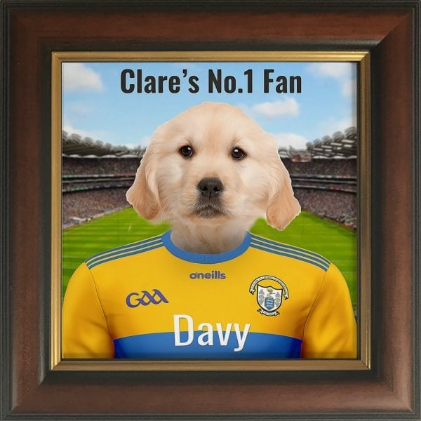 Clare GAA fans gift. A personalised pet portrait ceramic GAA gift in a brown and gold frame. Picture Parcel pet portraits are handmade in Ireland and ship worldwide. A great gift for any GAA supporter at home or abroad.