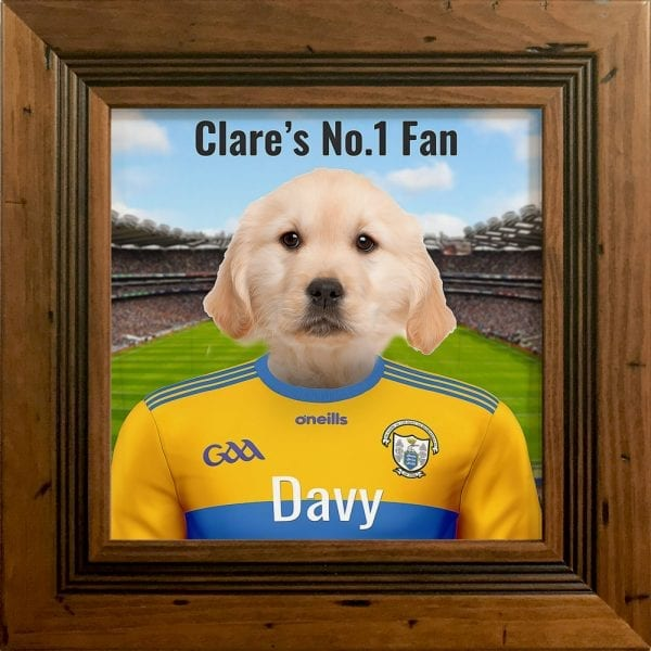 Clare GAA fans gift. A personalised pet portrait ceramic GAA gift in a rustic pine frame. Picture Parcel pet portraits are handmade in Ireland and ship worldwide. A great gift for any GAA supporter at home or abroad.