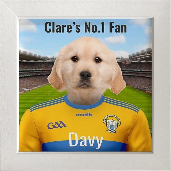 Clare GAA fans gift. A personalised pet portrait ceramic GAA gift in a white frame. Picture Parcel pet portraits are handmade in Ireland and ship worldwide. A great gift for any GAA supporter at home or abroad.