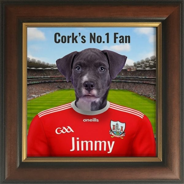 Cork GAA fans gift. A personalised pet portrait ceramic GAA gift in a brown and gold frame. Picture Parcel pet portraits are handmade in Ireland and ship worldwide. A great gift for any GAA supporter at home or abroad.