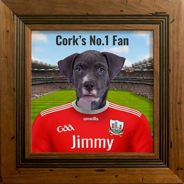 Cork GAA fans gift. A personalised pet portrait ceramic GAA gift in a rustic pine frame. Picture Parcel pet portraits are handmade in Ireland and ship worldwide. A great gift for any GAA supporter at home or abroad.