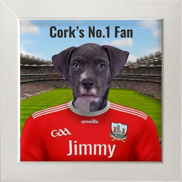 Cork GAA fans gift. A personalised pet portrait ceramic GAA gift in a white frame. Picture Parcel pet portraits are handmade in Ireland and ship worldwide. A great gift for any GAA supporter at home or abroad.