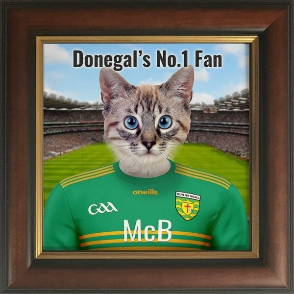 Donegal GAA fans gift. A personalised pet portrait ceramic GAA gift in a gold and brown frame. Picture Parcel pet portraits are handmade in Ireland and ship worldwide. A great gift for any GAA supporter at home or abroad.