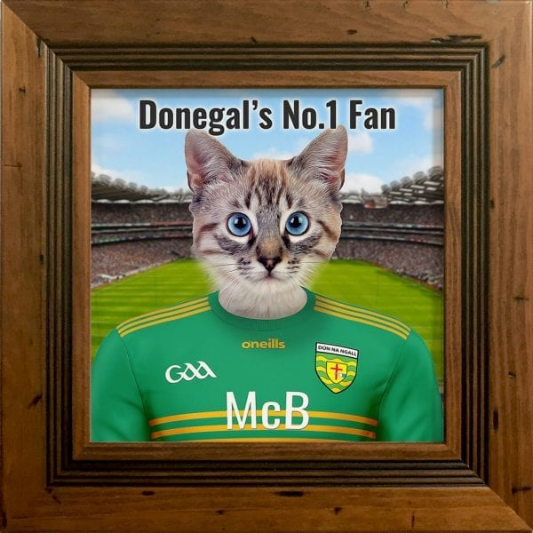 Donegal GAA fans gift. A personalised pet portrait ceramic GAA gift in a rustic pine frame. Picture Parcel pet portraits are handmade in Ireland and ship worldwide. A great gift for any GAA supporter at home or abroad.