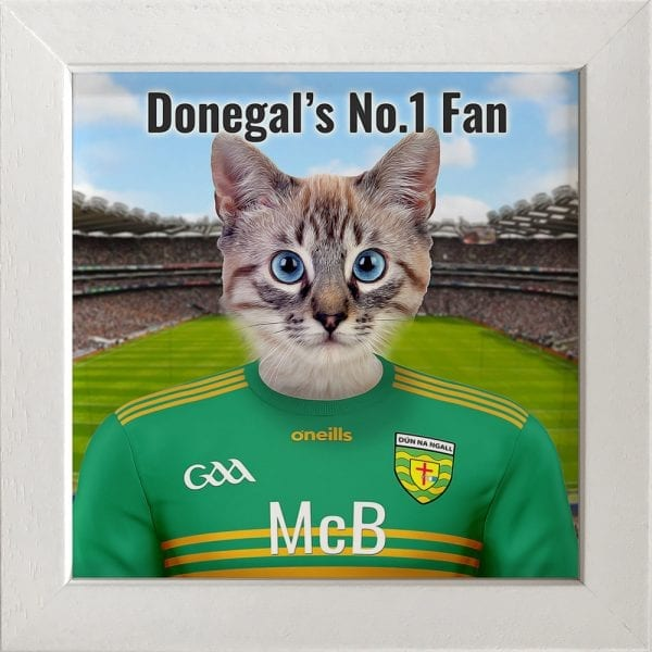 Donegal GAA fans gift. A personalised pet portrait ceramic GAA gift in a white frame. Picture Parcel pet portraits are handmade in Ireland and ship worldwide. A great gift for any GAA supporter at home or abroad.