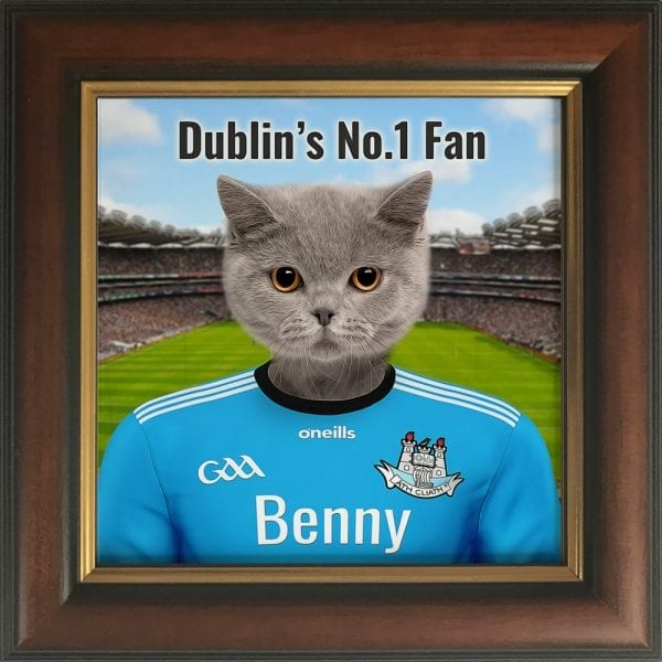 Dublin GAA fans gift. A personalised pet portrait ceramic GAA gift in a gold and brown frame. Picture Parcel pet portraits are handmade in Ireland and ship worldwide. A great gift for any GAA supporter at home or abroad.